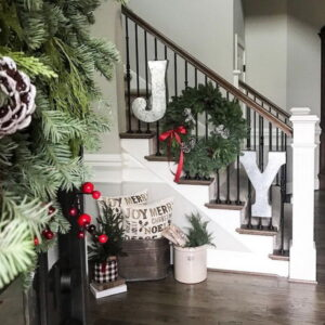Christmas staircase lettering