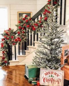 Large Christmas stair garland